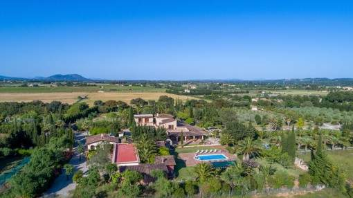 Sophisticated finca with a 40.000 sqm plot, palm garden, pool and holiday renting licence in Binissalem - purchase