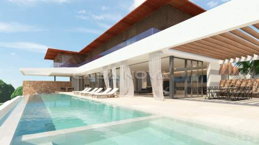 Cala Vinyes - Luxury villa Mallorca under construccion in 2nd sea line