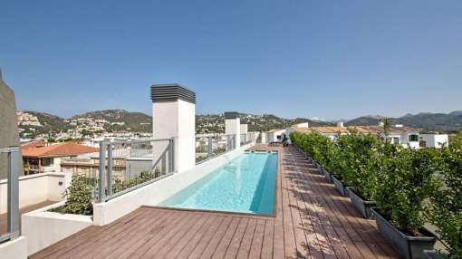Exclusive penthouse with impressive roof terrace for rent